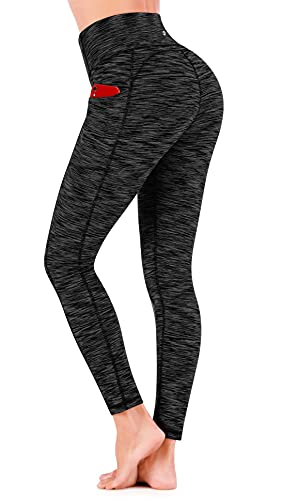 Ewedoos Women's Yoga Pants with Pockets - Leggings with Pockets, High Waist Tummy Control Non See-Through Workout Pants (US320 Charcoal, Large)