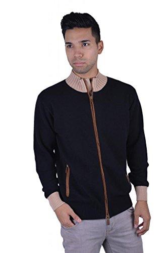 Doriani Men's 100% Cashmere Suede Trimmed Full Zip Sweater US XL IT 54