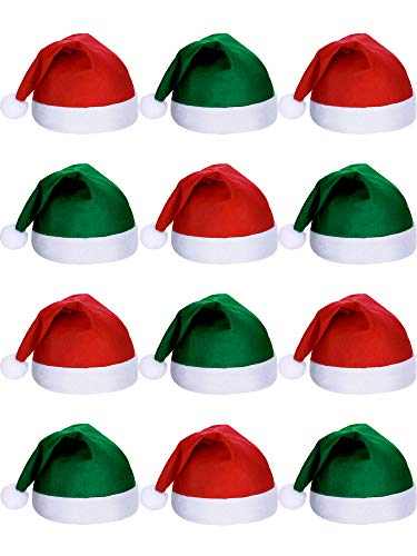 SATINIOR 12 Stück Santa Hüte Weihnachten Mütze Nicht Gewebter Stoff Hut für Urlaub Weihnachten (Grün und Rot)