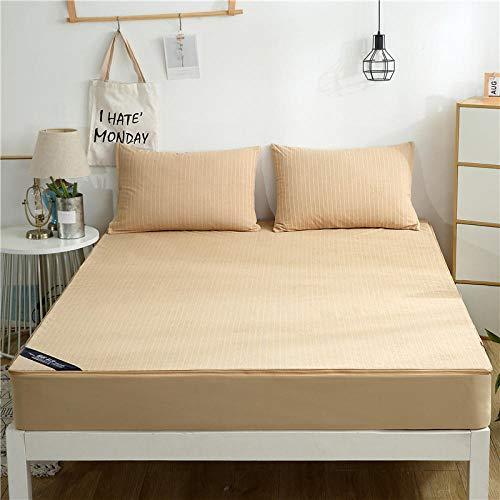 N / A Color Puro fácil Cuidado Protector de colchón,Sábana de Cama Impermeable de algodón, Cubierta de Polvo, Cubierta de colchón para niños, Cubierta Completa de Seis Lados, Camel_180 * 200 + 20cm
