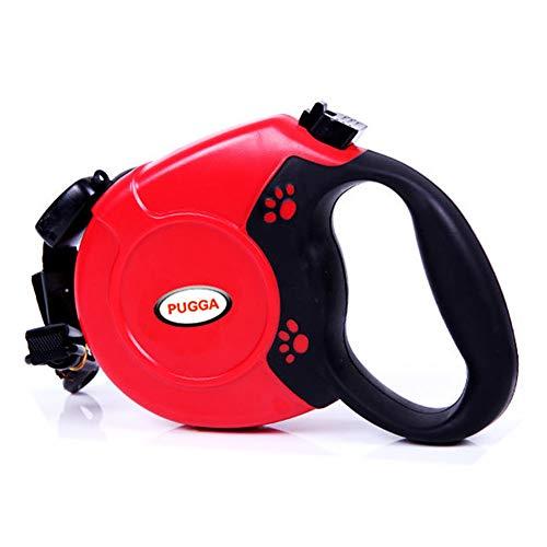 Pugga hondenriem rollinnen training M-L riem voor honden tot 80 kg lengte 8 m, rood