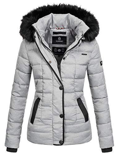 Marikoo warme Damen Winter Jacke Steppjacke Winterjacke gesteppt Parka B391 [B391-Unique-Grau2-Gr.L]