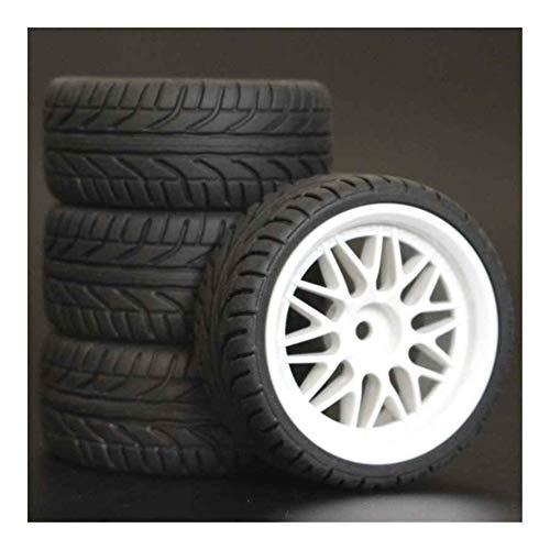 Huanruobaihuo Neumáticos 4pcs RC 1/10 Ruedas de plástico de 26 mm de Espuma de inserción for en el Coche Camino de HSP HPI Piezas de Repuesto 1012 (Color : 8002)