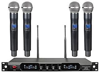 innopow 4-Channel Metal Dual UHF Wireless Microphone System,inp Metal Cordless Mic Set, 4Handheld Mics,Long Distance150-200Ft,Ideal for Church, Party,Small Karaoke Night