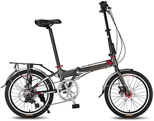 Bicicleta plegable de 20 pulgadas, 7 velocidades, portátil, marco de aluminio ligero, doble disco de freno, bicicleta de montaña urbana, para adultos y adolescentes