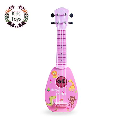 "YOLOPARK Mini Guitar Ukulele Toy for Kids, 4 Strings Keep Tones Can Play Not Electronic Ukulele, Children Musical Instruments Educational Toys for Beginner (Pink, 17"")"