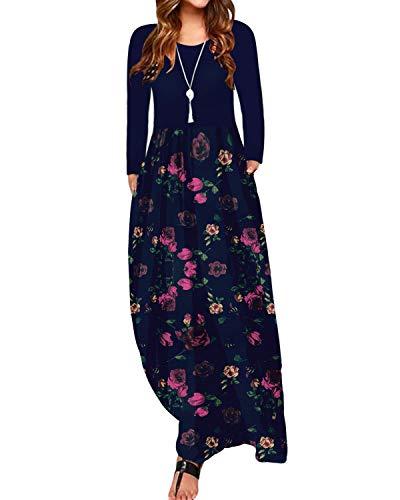 ZANZEA Sommerkleid Damen Ärmellose Maxikleid Blumen Langes Kleid V Ausschnitt Strandkleid Trägerkleid Casual, EU 44 / Etikett XXL, Marine-d08607