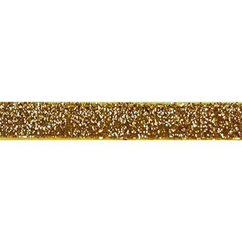 Ruban Yycraft - Élastique - À paillettes - 4,5 m - Pour faire des élastiques à cheveux et des bandeaux, doré, 5/8\