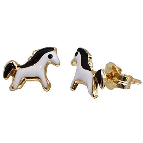 I-be, orecchini a forma di cavallo, in oro 14 K (585), 6 x 8 mm, 35585906501P