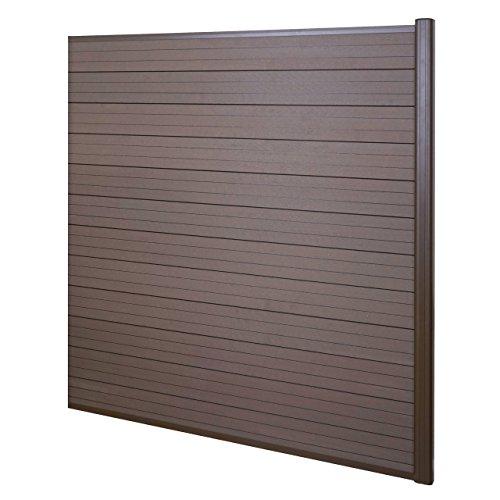 Mendler WPC Pare-Vue Sarthe, Abat-Vent, clôture, Aluminium Premium - élément d'élargissement, 1,85m, Marron
