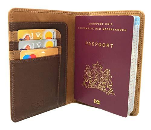 Su.B Porte-Passeport Housse en Cuir avec Blocage RFID - Protège-passeports - Portefeuille Pochette étui de Protection pour Passeport Carte d'embarquement - Marron