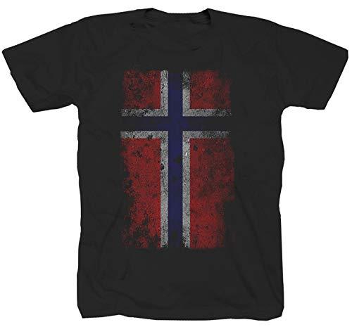 Tex-Ha Norwegen Fahne Flag Wikinger Norway schwarz T-Shirt (XL)