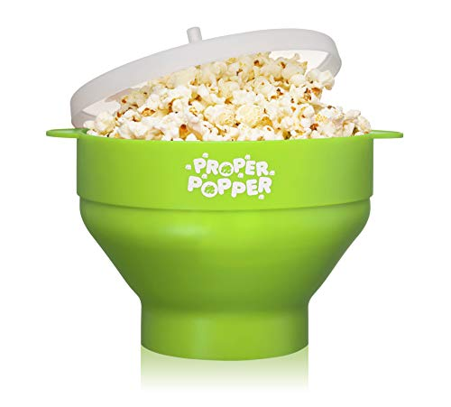 The Original Proper Popper Microwave Popcorn Popper, Silicone Popcorn Maker, Collapsible Bowl BPA Free & Dishwasher Safe - (Green)