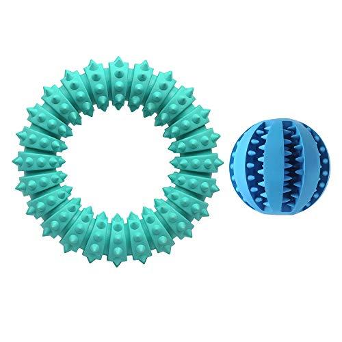 AMATHINGS Doppelpack (=2 Stück) Hundespielzeug Ball Und Ei Premiumqualität Snackball (7 cm) Und Rugbyball (11 cm) Zur Zahnpflege Und Spielspaß (Ring + Ball)