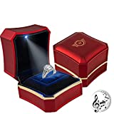 Ring Box for Engagement Wedding ceremony Proposal Birthday Valentine' Day Mother's Day Christmas,with LED Premium Light up Romantic MUSIC included, Velvet instert Box Jewelry Display Gift Box