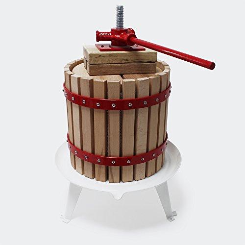 Prensa para frutas bayas vino sidra de madera con capacidad de 6 litros y bolsa de macerado