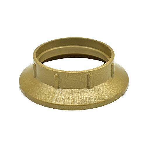 2 Stück Schraubring E14 Kunststoff Gold für Lampen-Fassung Gewindering für Lampen-Schirm oder Glas-Elemente bei Tischleuchten, Wandleuchten u. Stehleuchten