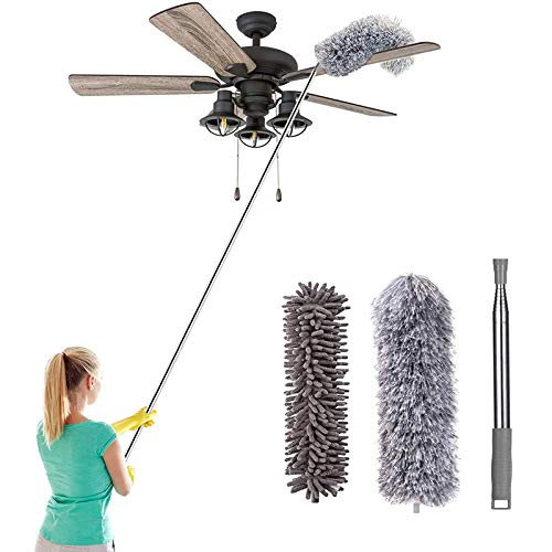 """Telescoping Microfiber Feather Duster for Cleaning, 100"""" Extra Long Extendable Duster, Bendable & Washable for Cleaning Cobweb, Ceiling Fan, High Ceiling, Blinds, Furniture & Cars"""