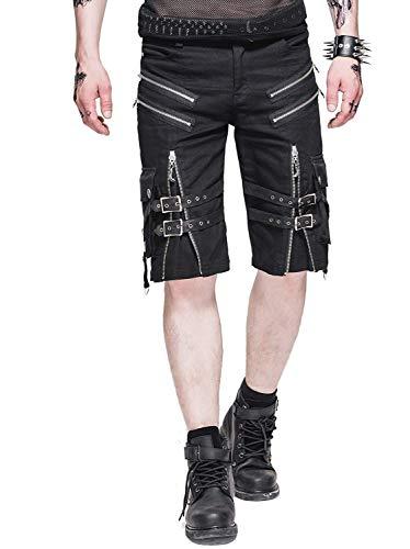 Moda Gótica Hombre Pantalones Cortos De Cortos Pantalones Carga Negros Ropa festiva Steam Punk Hombres Hombres Aire Libre Pantalones De Trabajo Con Bolsillos ( Color : Negro , Size : S )