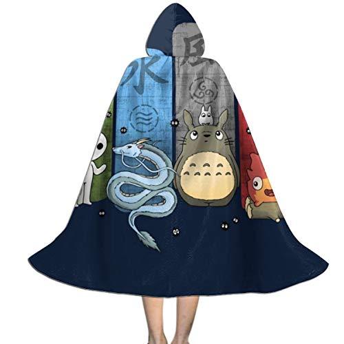 OJIPASD Studio Ghibli Elemental Cute Charms Unisex Niños Capa con Capucha Halloween Navidad Decoración de la Fiesta de Papel Cosplay Disfraces