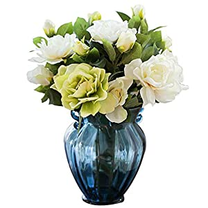 Vase Nostalgia Gardenia Blue Ears Glass Floral Set Silk Flowers Artificial Flowers Artificial Flowers Send (Artificial Flowers) for Flowers