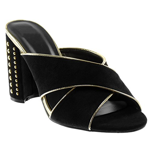 Angkorly - Damen Schuhe Mule Pumpe - Slip-On - schick - gekreuzte Riemen - Nieten - besetzt - golden Blockabsatz high Heel 10 cm - Schwarz A-769 T 37
