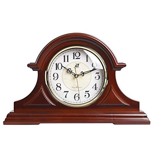 WMY Vintage Farmhouse Table Clock Reloj de repisa con Madera Real, diseño Antiguo Vintage, Reloj Decorativo, Funciona con Pilas