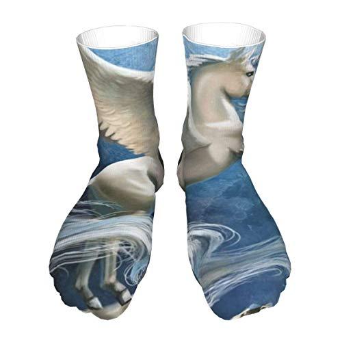 N \ A Crew-Socken, Flügel, Pferd, weißes Einhorn, für Herren und Damen, einzigartig, wadenhoch, Sportsocken für Erwachsene