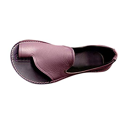 Freizeit Damen Schuhe Mode Flache Sandalen Niedriger Absatz Offener Zehengummiband Strand Farblich abgestimmte Tasche Alltäglicher Schuh Römische Sandalen Lila EU:39/CN:40