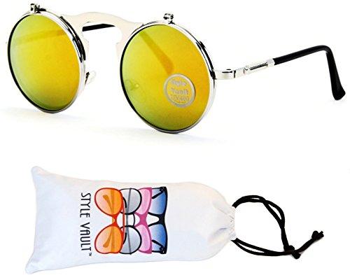 V137-vp Flip up/Out Round Metal Sunglasses 2' Lens (6006RV Black-Amethyst mirror, mirrored)