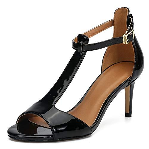 Sandalias de tacón con Correa al Tobillo para Mujer con Punta Abierta y tacón de Gatito Mary Jane Zapatos de Fiesta de Novia JC-2