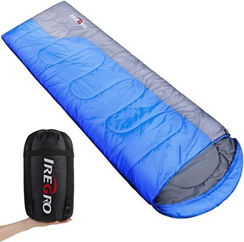IREGRO Schlafsack, 1KG Leicht Camping Schlafsack Deckenschlafsack, Kompakt Wasserdicht Warm, Perfekt Outdoor Sleeping Bag für Erwachsene Kinder Camping Wandern Sommerlager, 220 X 80cm (Blau)