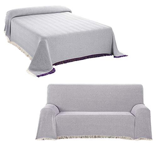 Staboos Tagesdecke - Hochwertiger Bettüberwurf in Lila, 230 x 260 cm Praktischer Überwurf als Sofadecke oder Couchdecke - Bed Throw Blanket - Weiche Wohnzimmer Decke aus Baumwolle
