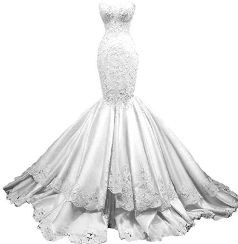 Melisa Women's Sweetheart Neckline Strapless Beading Lace Mermaid Wedding Dresses with Train Satin Bridal Ball Gowns Champagne