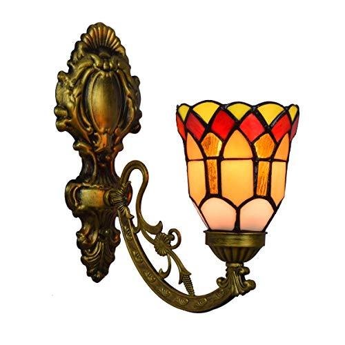 BINGFANG-W dormitorio Lámpara de pared Decoración británica Stained Glass Espejo Moderno Luces de noche la lámpara de pared del pasillo del jardín de una sola cabeza de cristal lámpara de pared Lámpar