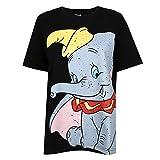 Disney Dumbo Smile Camiseta, Black, Small para Mujer