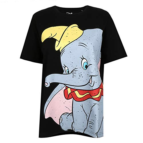 Disney Damen Dumbo Smile T-Shirt, Black, Medium