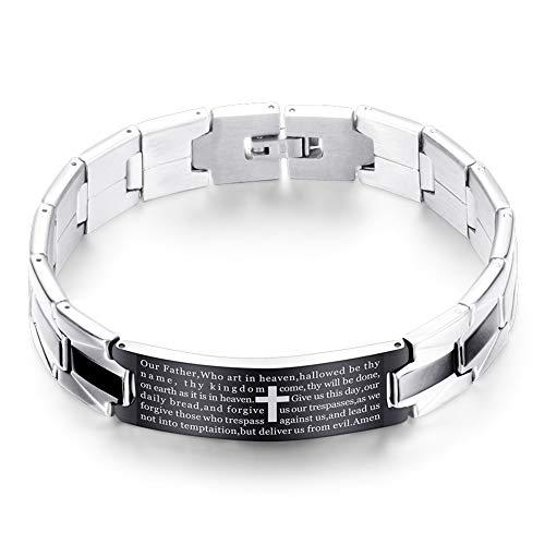 ASOSMOS Men Bracelet Valentinstag Edelstahl Kreuz Englisch Gebet Casual Armreif Geschenk