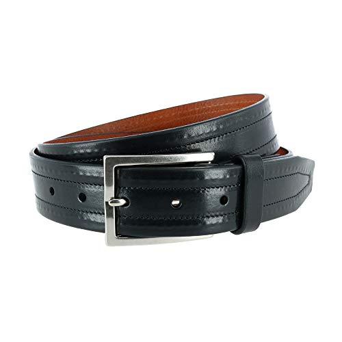 Trafalgar Wesley - Cinturón de piel para hombre (35 mm) - negro - 38