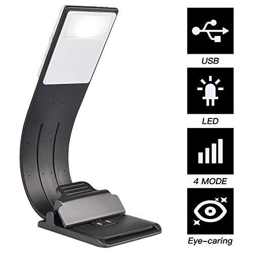 EEM Clip en la luz LED de Marcador, lámpara de Lectura Recargable USB, Cuidado de los Ojos Ajustable Brillo Flexible de 4 Niveles para Lectura, Cuello de Metal Flexible de Goma Suave