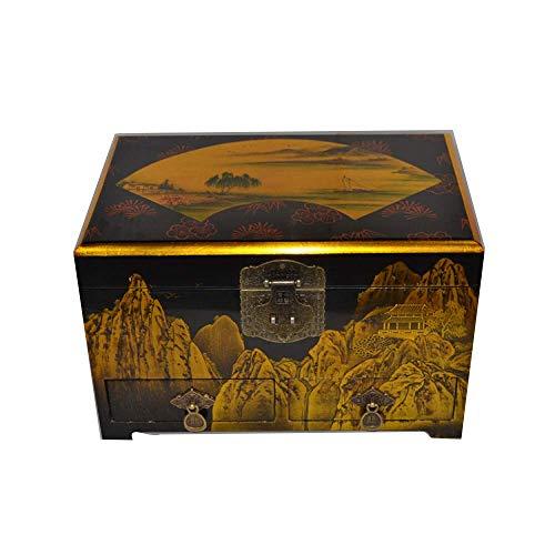 ALIANG Cajas de joyeríaCaja de Almacenamiento China de Madera Pingyao Push Laca Ware Artesanía Caja de Almacenamiento de joyería En Forma de Abanico Paisaje Regalo de cumpleaños