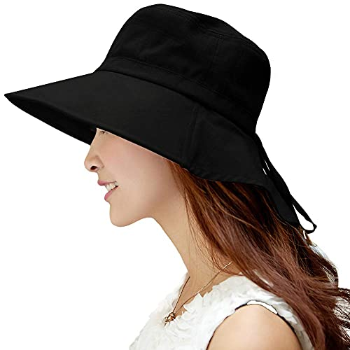 Comhats - Sombrero de verano para mujer, UPF 50, con ala ancha que protege hasta el cuello y correa de barbilla Negro 1005_Negro M