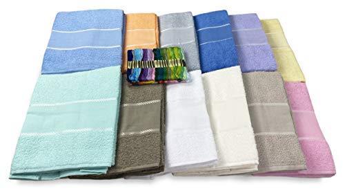 Tex Family - Juego de 2 toallas (1 toalla de manos y 1 toalla de cortesía para invitados) de rizo de algodón 100% y franja de tela Aida para bordar en punto de cruz, con hilo gratis. Azul.
