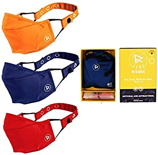 Risque Cotton Reuseable Face Mask (Yellow, Red & Blue, Without Valve, Pack of 3) for Kids