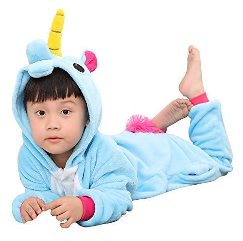 Seawhisper Einhorn Kostüm Kinder Mädchen Schlafoverall Kinder Pyjamas Onesie Tier Jumpsuit Halloween Kinderskostüm 110 Blau
