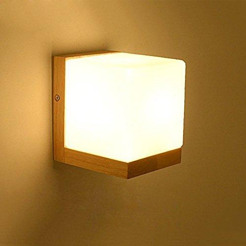 Vampsky Moderna Lámpara de pared de vidrio blanco simple Estilo japonés Iluminación creativa E27 Cubo de madera Edison Apliques de pared...