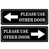 Outdoor/Indoor (2 Pack) 9' X 3' PLEASE USE OTHER DOOR Sign Black & White Sticker Decal - For Business Store, Shop, Cafe, Office, Restaurant - Back Self Adhesive Vinyl