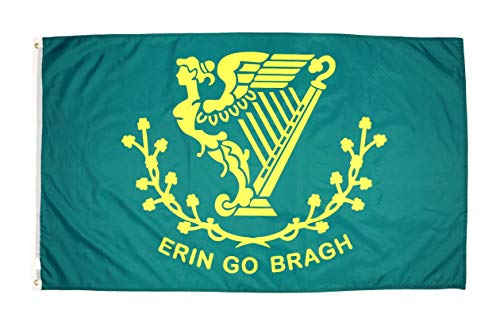 High Supply 3x5 Erin Go Bragh Flag with Two Brass Grommets, Double Stitched Edges, and 100% Polyester Fabric, 3x5 Irish Flag, Erin Go Bragh Outdoor Flag, 3x5 Irish Flag, 3x5 Ireland Flag