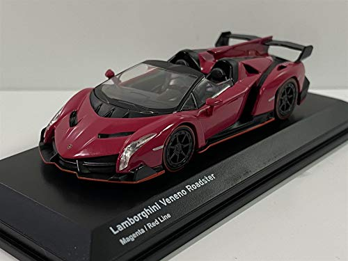 Veneno Roadster Magenta with Red Line 1/64 Diecast Model Car by Kyosho KS07040A3