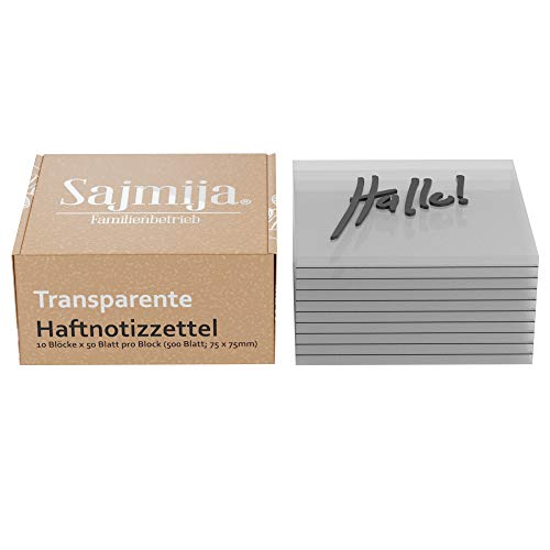 SAJMIJA Transparente Haftnotizen 500 Zettel (10 Blöcke je 50 Haftnotizzettel; 75x75mm)